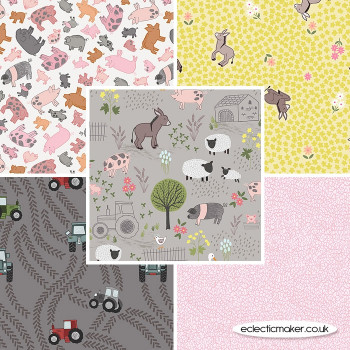 Lewis and Irene - Piggy Tales - Fabric Bundle in Grey