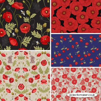 Poppies - Fabric Bundle in Black - Lewis and Irene Fabrics