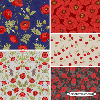 Poppies - Fabric Bundle in Blue - Lewis and Irene Fabrics