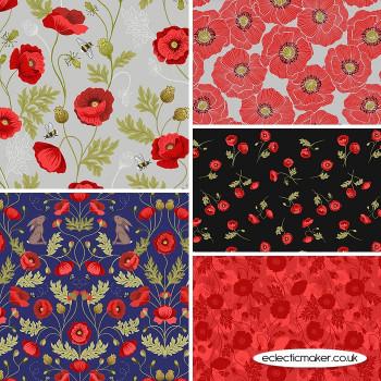 Poppies - Fabric Bundle in Grey - Lewis and Irene Fabrics