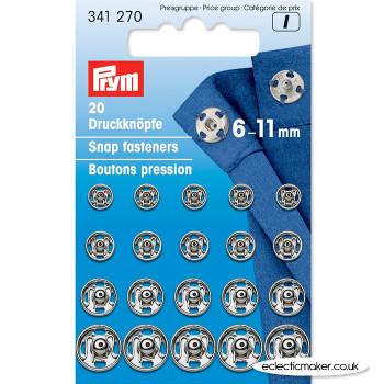 Prym Snap Fasteners / Press Studs Silver (Sew-On) - 6 - 11mm