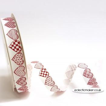 Red Patterned Heart Print Grosgrain Ribbon on White - 16mm