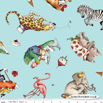 Riley Blake Fabrics - Hungry Animal Alphabet - Animal Toss on Blue