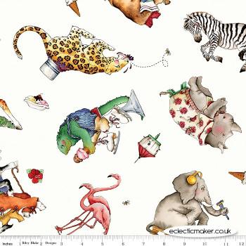 Riley Blake Fabrics - Hungry Animal Alphabet - Animal Toss on Off White