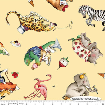 Riley Blake Fabrics - Hungry Animal Alphabet - Animal Toss on Yellow
