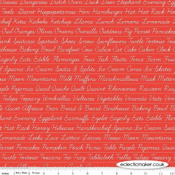 Riley Blake Fabrics - Hungry Animal Alphabet - Penmanship on Red