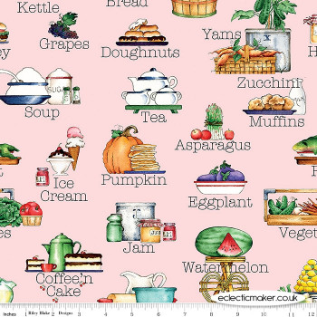 Riley Blake Fabrics - Hungry Animal Alphabet - Soup on Pink