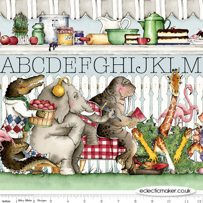 Riley Blake Fabrics - Hungry Animal Alphabet by J. Wecker Frisch - Hungry Animal Alphabet Border Stripe