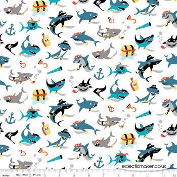 Riley Blake Fabrics - Pirates Life - Shark Attack in White