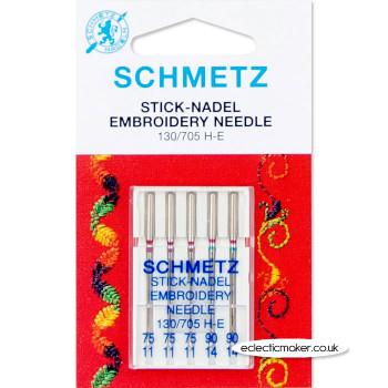 Schmetz Embroidery Needles Size 75/11 & 90/14