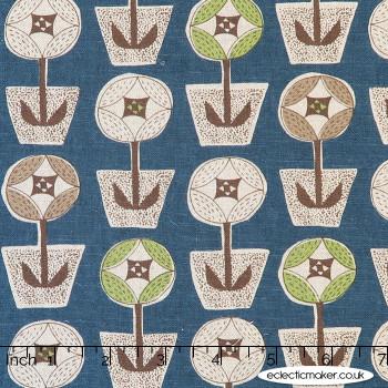 Sevenberry Fabrics - Japanese Linen - Plants on Blue