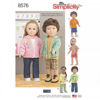 Simplicity Pattern 8576 - Unisex Doll Clothes