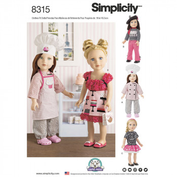 """Simplicity Pattern 8315 - 18"""" Chef Doll Clothes"""