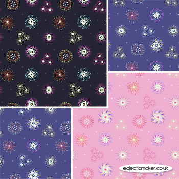 Lewis and Irene - Small Things Glow - Fabric Bundle in Fireworks