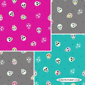 Lewis and Irene - Small Things Glow - Fabric Bundle in Skulls