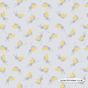 Lewis and Irene - Small Things Mystical and Magical - Fairies on Light Silver Gold Metallic