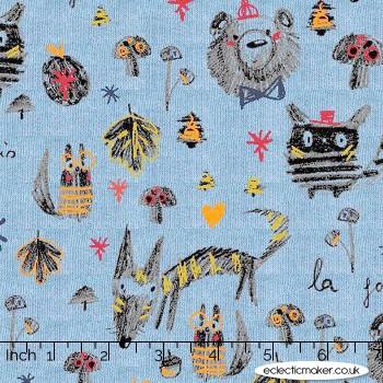 Soft Sweatshirting Fabric - Forest Friends in Blue Melange