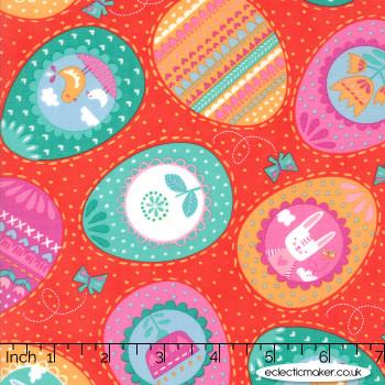 Moda Fabrics - Spring Bunny Fun - Eggs Eggs Eggs in Geranium