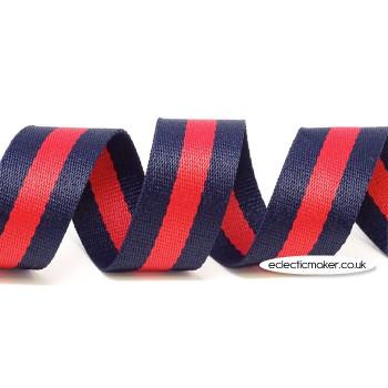 Strap Webbing Heavy Weight Stripe in Blue/Red - 30mm x 5m