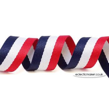 Strap Webbing Heavy Weight Stripe in Navy/White/Red - 30mm x 5m