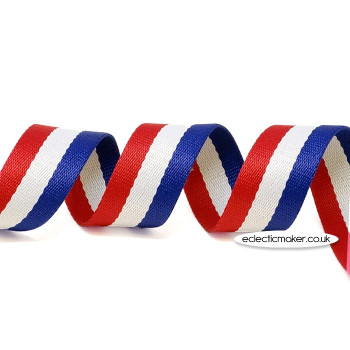 Strap Webbing Heavy Weight Stripe in Royal/White/Red - 30mm x 5m