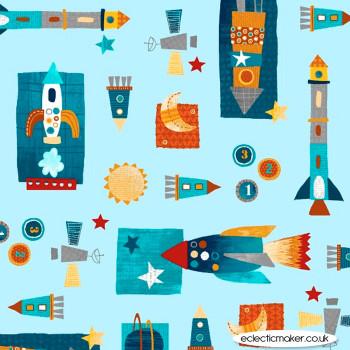 Studio E Fabrics - Space Adventure - Space Shuttles in Light Blue