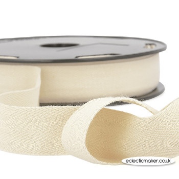 Twill Tape Cotton in Ivory - 14mm