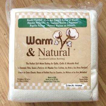 Warm & Natural Cotton Batting - Full Size - 90 x 96 inch