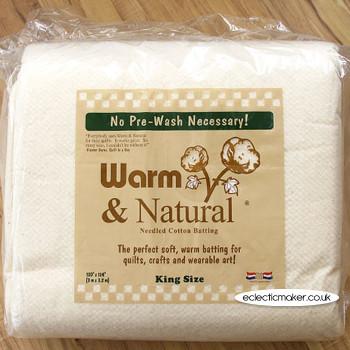 Warm & Natural Cotton Batting - King Size - 120 x 124 inch