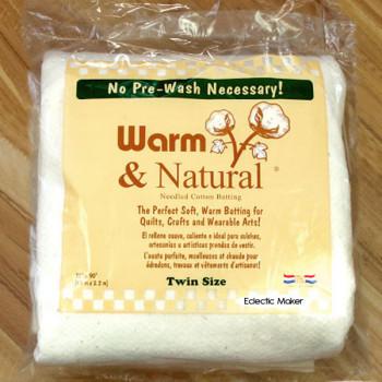 Warm & Natural Cotton Batting - Twin Size - 72 x 90 inch