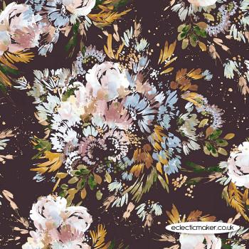 Windham Fabrics - Botany Cotton Lawn - Full Bloom in Navy
